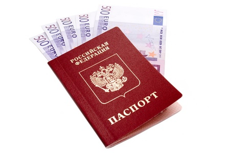 Russian international passport and Euro money on white background