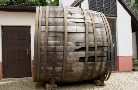 very old large wine barrel, oval shaped photo