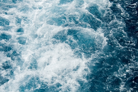 commotion: Frothy Mediterranean sea blue water Stock Photo