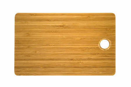 Bamboo brown cutting board isolated on white background