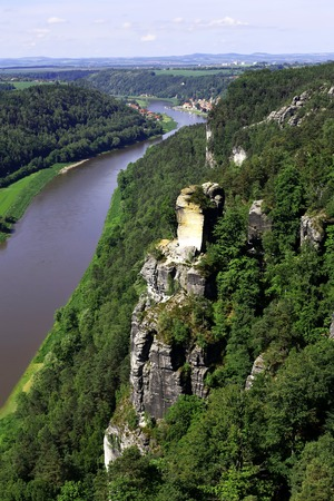 View from the Bastei on the river Elbe, Saxon Switzerland Stock Photo