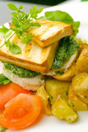 tofu: Grilled tofu on pest and potato