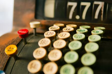 tote: Close up of keys on an old cash register Stock Photo