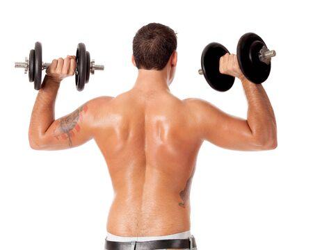 hombres sin camisa: Levantamiento de pesas