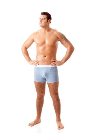 Man in blauwe ondergoed