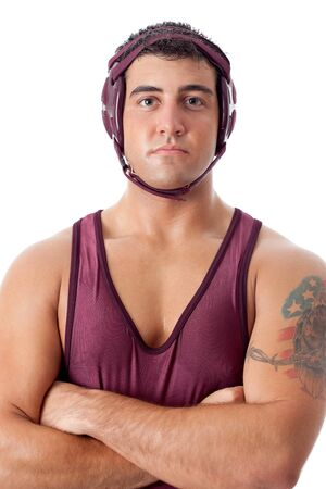 folkstyle: Young adult male wrestler. Studio shot over white. Stock Photo
