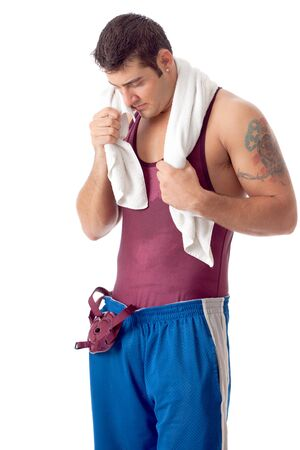Young adult male wrestler. Studio shot over white. Stock Photo - 7586550