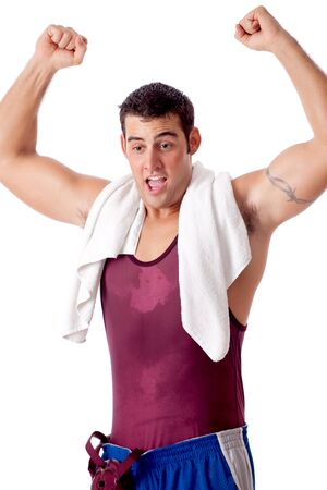 Young adult male wrestler. Studio shot over white. Stock Photo - 7586532