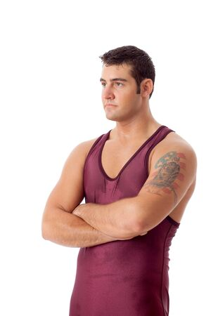 Young adult male wrestler. Studio shot over white. Stock Photo - 7586552