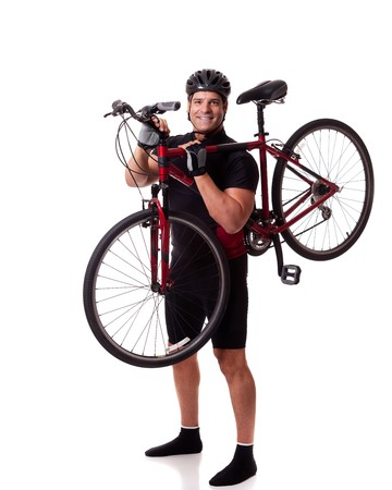 Adult male cyclist. Studio shot over white. Stock Photo - 7586517