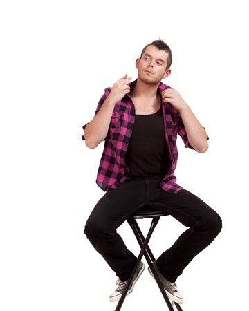 flannel: Man in Pink Flannel Stock Photo
