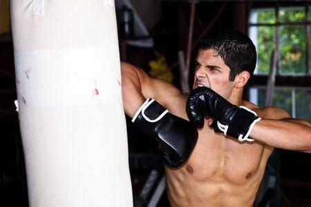 Fighter training in garage. photo