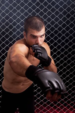 fighters: Mixed martial artist posed in front of chain link