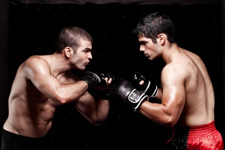 martial artist: Mixed martial artists before a fight Stock Photo