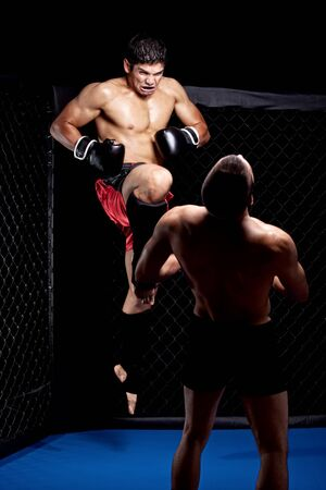 Mixed martial artists fighting - knee strike photo