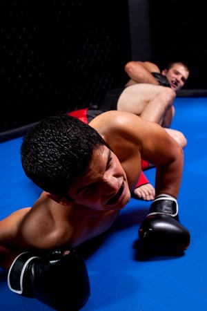 grappling: Mixed martial artists fighting - ground fighting