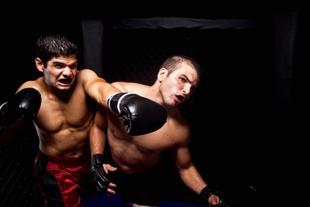 martial artist: Mixed martial artists fighting - punching