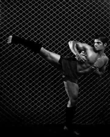 arte marcial: Marciales mixtas que plantea en frente de la cadena de enlace  Foto de archivo