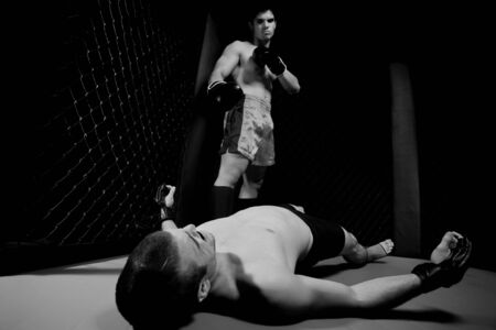 knock out: Mixed martial artists fighting - knock out