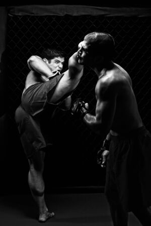 artes marciais: MMA - Mixed martial artists fighting - kicking