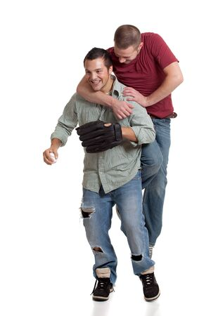 horseplay: Two men with baseball
