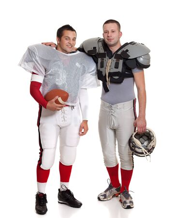 teammates: American football players. Stock Photo