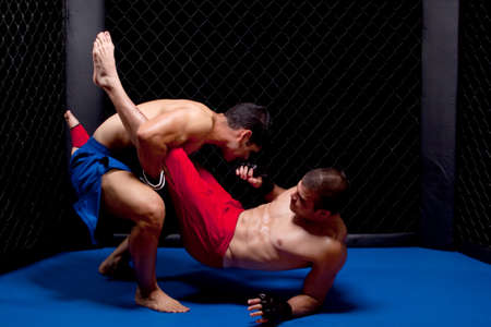people fighting: Mixed martial artists fighting