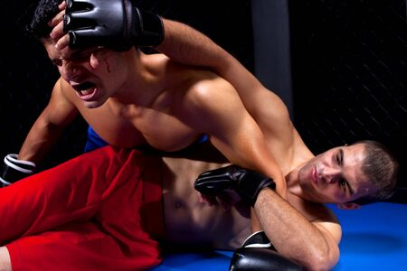 grappling: Mixed martial artists fighting