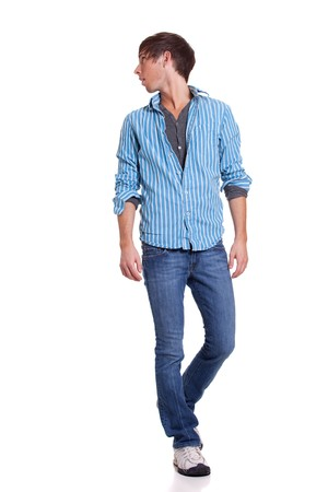 man in jeans: Young man in blue