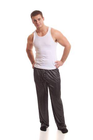 Man in Pajamas Stock Photo
