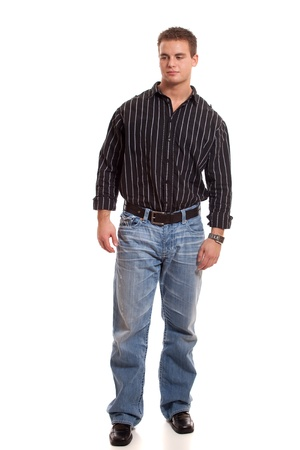Casual young man in dress shirt and jeans. Stock fotó - 8649560