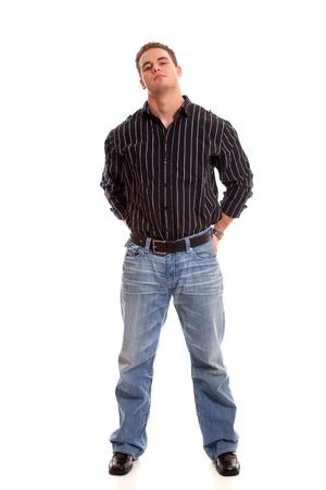 Jeune homme occasionnel en robe chemise et des jeans. Banque d'images - 8649431