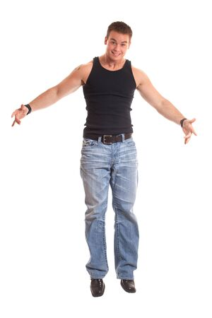 undershirt: Casual young man in black undershirt and jeans.