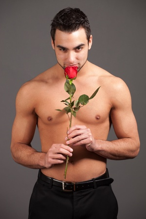 shirtless man: Man with Rose