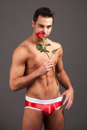man in underwear: Man with Rose