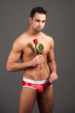 sexy young man: Man with Rose