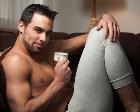 long johns: Man Relaxing