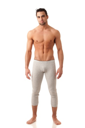 long johns: Man in Long Underwear Stock Photo