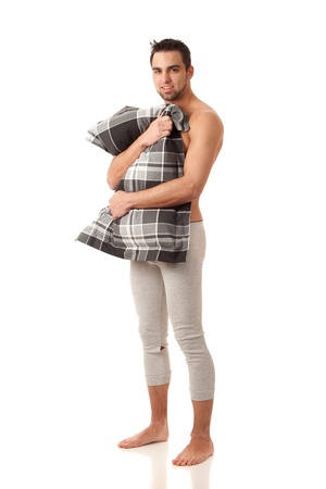 long johns: Man with Pillow Stock Photo