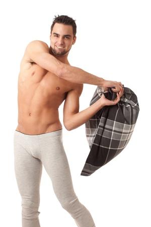 Man with Pillow 免版税图像