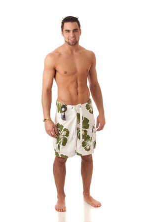 hombres sin camisa: Hombre en trajes de ba�o
