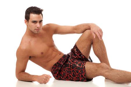 man in underwear: Man in Heart Boxers