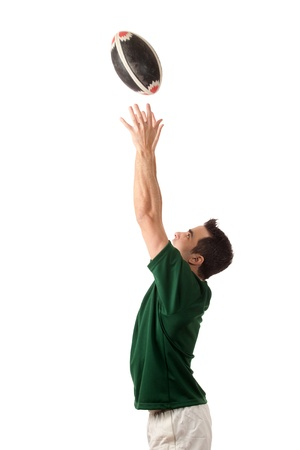 catching: Rugby Player Stock Photo