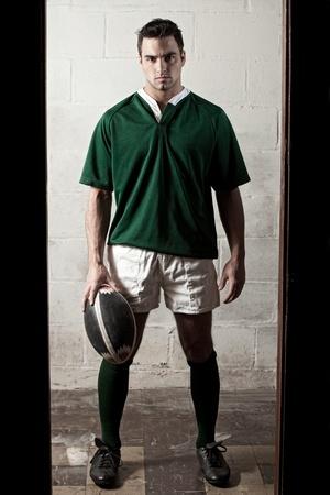 and rugby ball: Jugador de rugby. Foto de archivo