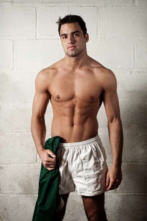 20s nude: Rugby Player Stock Photo