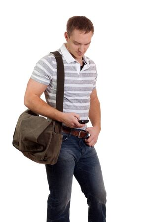 sms: Young Man With Mobile Phone