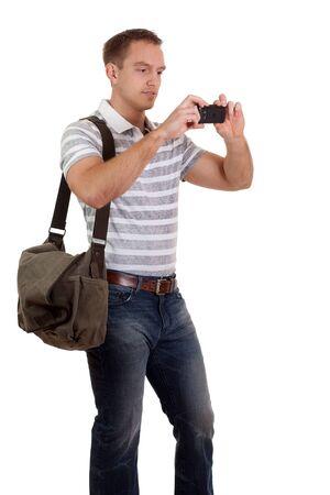 휴대 전화와 젊은 남자