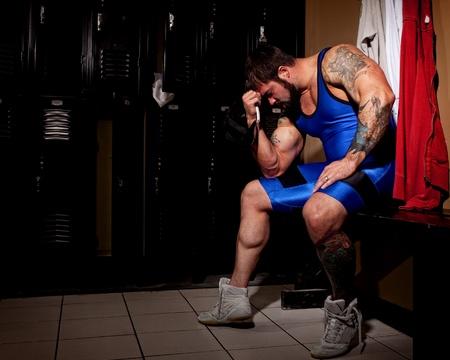 locker room: Wrestler Stock Photo