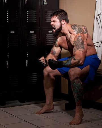 locker room: Fighter Stock Photo
