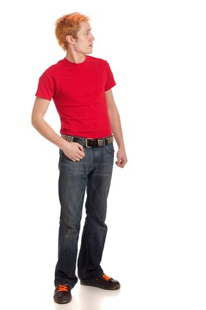 Young Man in Red Shirt photo